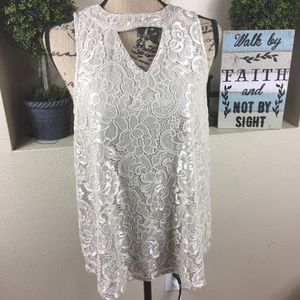 Lace top with cut out by Maurices